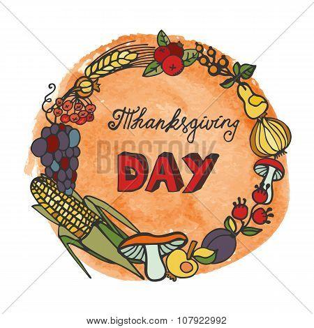 Thanksgiving day.Doodle harvest wreath,watercolor splash