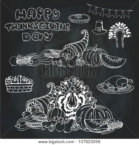 Thanksgiving day.Doodle harvest,holiday set.Chalkboard