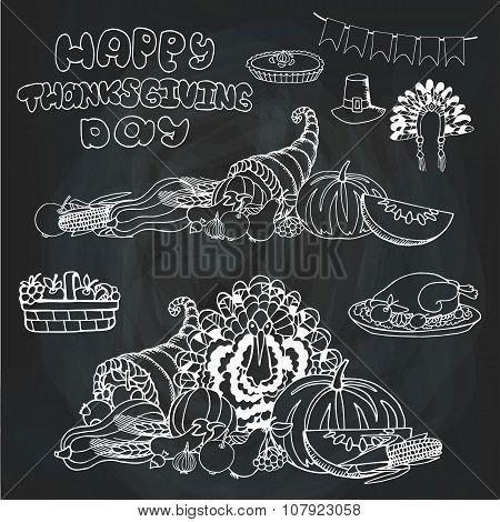 Thanksgiving day.Doodle harvest,holiday set.Chalkboard