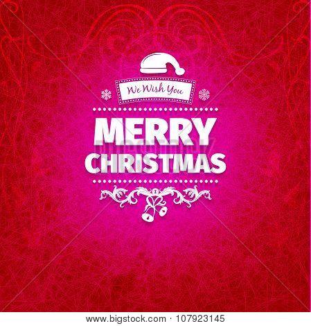 Vintage grange retro flat style trendy Merry Christmas card
