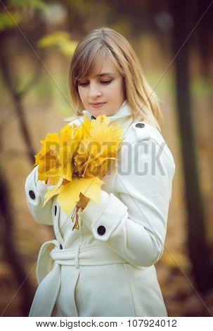 Portrait of half face beautiful blonde woman