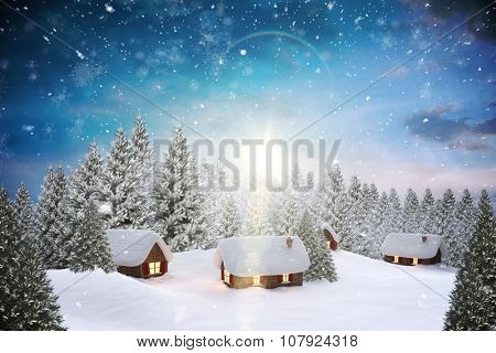Digitally generated Snow covered village in forest