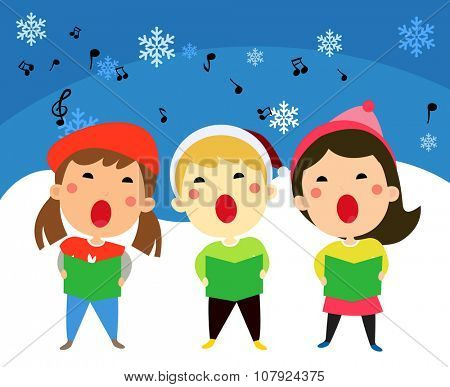 Children singing christmas carols, vector illustration