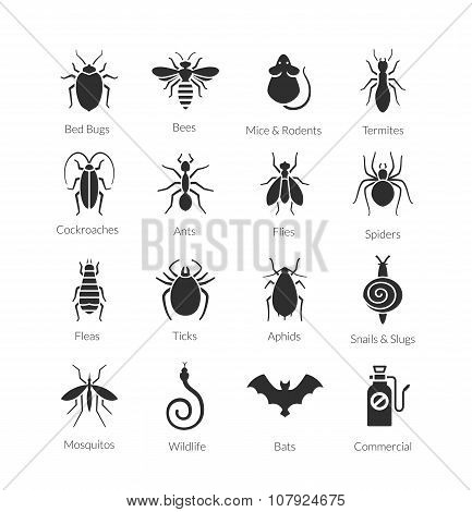 Vector set of icons with insects for pest control company