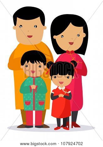 A traditional chinese new year celebration,Happy family
