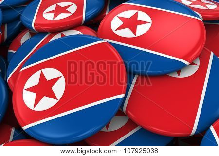 Pile Of North Korean Flag Badges - Flag Of North Korea Buttons Piled On Top Of Each Other