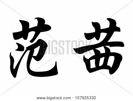 English Name Fancy In Chinese Calligraphy Characters