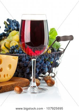 Glass red wine with grapes and cheese. Isolated on white background. Illustration