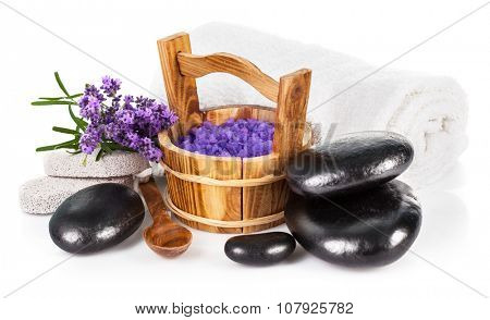 Spa still life with lavender salt isolated on white background.
