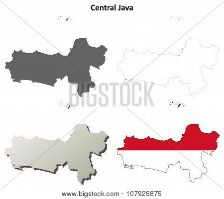 Central Java blank outline map set