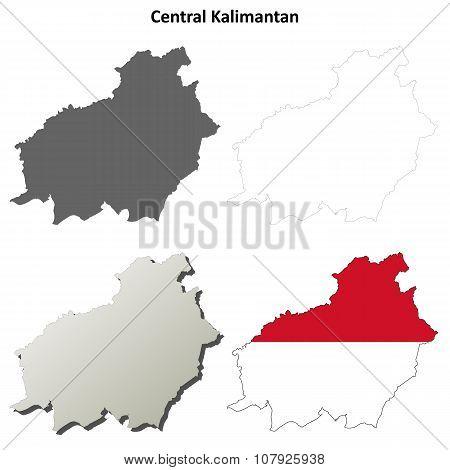 Central Kalimantan blank outline map set