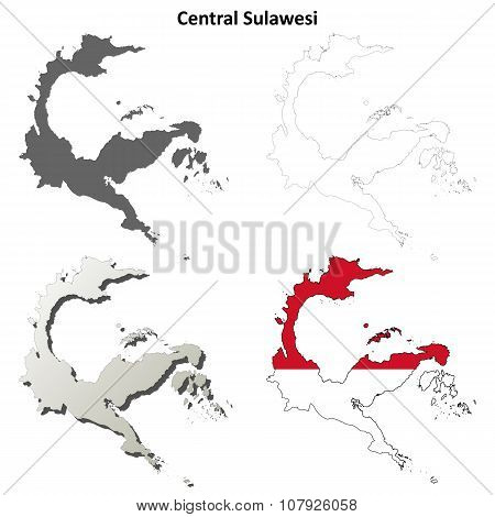 Central Sulawesi blank outline map set
