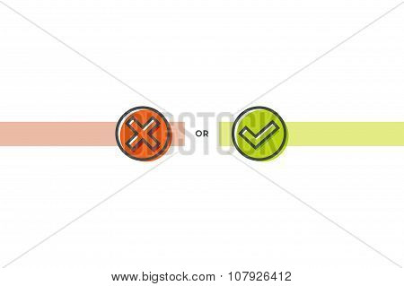 Flat line check marks icons. Stock vector.