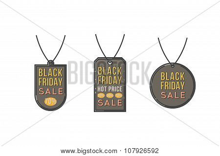 Vector black friday sales line banners vector set.  Stock vector.
