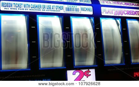 Coquitlam, BC, Canada - November 10, 2015 : Motion of spinning slot machine inside Hard Rock Casino