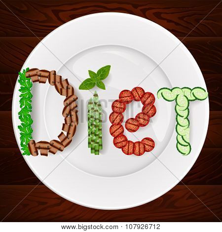 Diet Vegetables Plate Wooden Texture 1