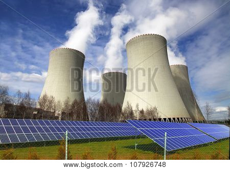Nuclear power plant Temelin with solar panels in Czech Republic Europe