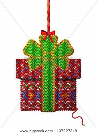 Gift Box Of Knitted Fabric With Ornament