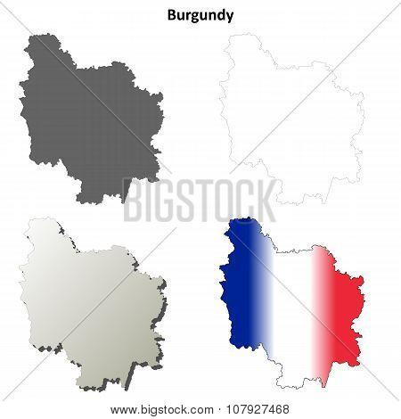 Burgundy blank detailed outline map set