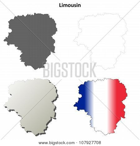 Limousin blank detailed outline map set