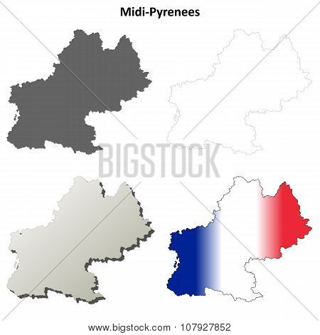 Midi-Pyrenees blank detailed outline map set