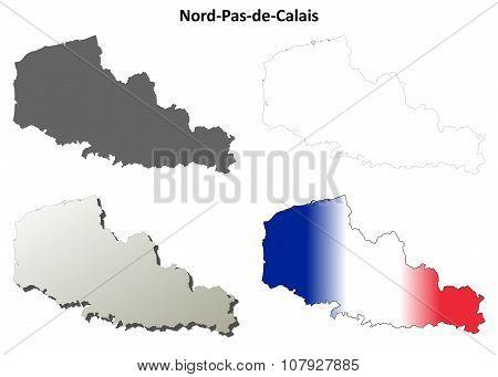 Nord-Pas-de-Calais blank outline map set