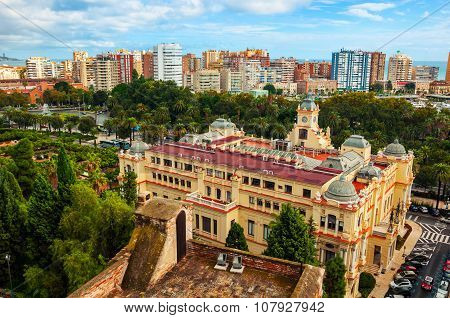 Aerial view of City Hall in Malaga