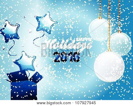 Blue Christmas Box Balloons And Baubles