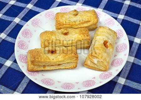 Homemade Cakes Puff Pastry With Apricot Filling