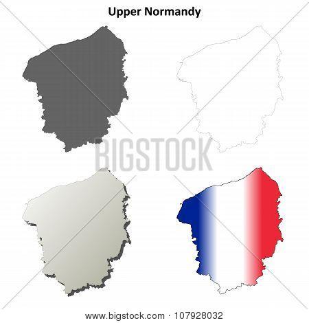 Upper Normandy blank outline map set