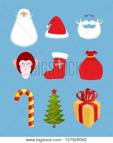 Christmas Icons Set. Characters: Christmas And New Year Gift. Santa Claus And  Monkey. Peppermint Lo