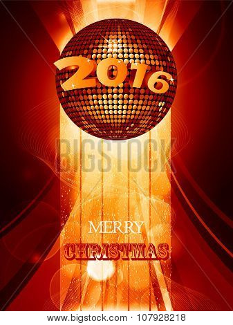 Christmas 2016 Glowing Background With Disco Ball