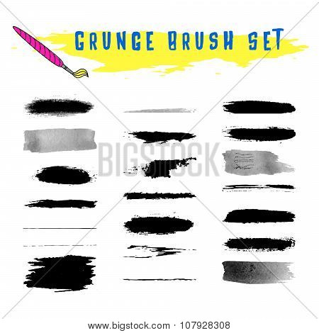 Set of grunge vector brushes.