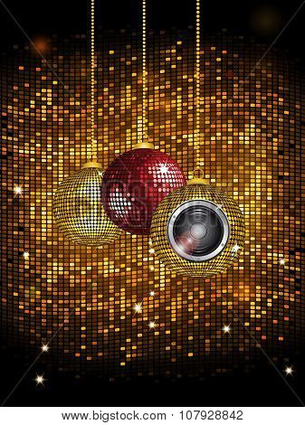 Disco Balls Baubles With Speaker Over Golden Wall Tiles