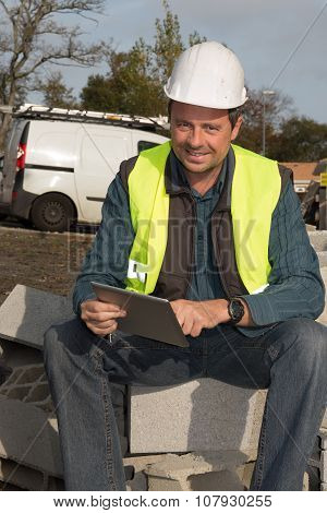 Architect Using Electronic Tablet