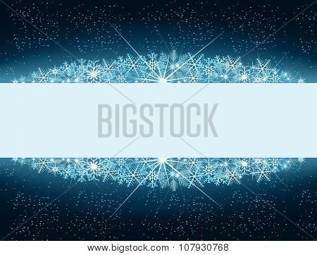 Winter Banner With Snowflakes, Snow And Space In Center For Text
