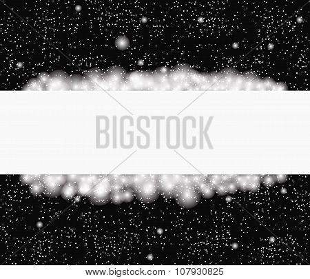 Snowflakes Around Blank Banner On Black Background