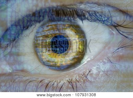 Eye macro with software code overlay