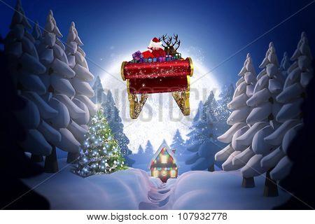 Santa flying his sleigh against winter village