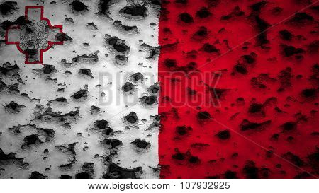 Flag of Malta, Maltese flag painted on wall with bullet holes