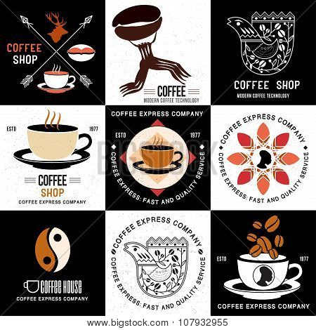 Set of retro logo and badges for coffee companies, coffee shop and cafe.