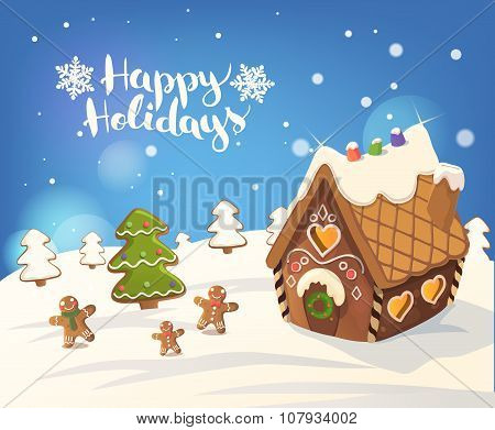 Cristmas Background with gingerbread house, christmas tree, and little men, Vector.
