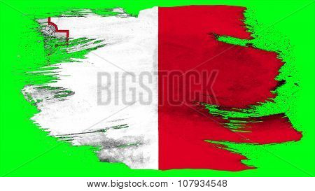 Flag of Malta, Maltese flag painted with brush on solid background, paint texture
