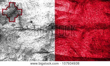 Flag of Malta, Maltese flag painted on wool texture
