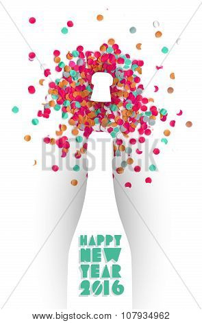 Happy New Year 2016 Confetti Champagne Party Color