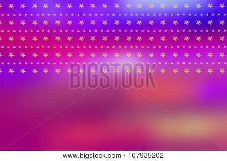 Christmas Blurry, Bright Background With Golden Stars