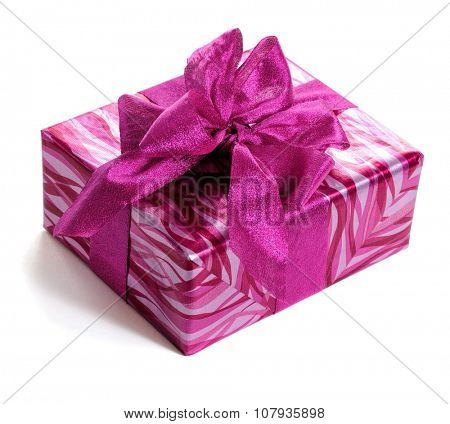 red gift box decorated with bow isolated on white