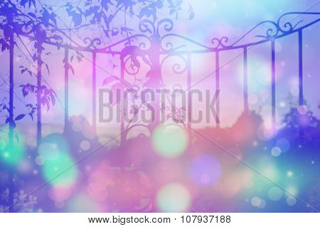 Dreamy Background With Beautiful, Old, Stylich, Garden Gate With Bokeh Lights