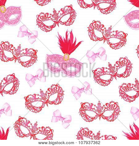 Masquerade Mask With Feathers And Pink Bows Seamless Vector Pattern