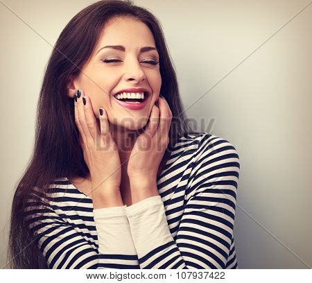Happy Loudly Laughing Woman Holding Hands The Face